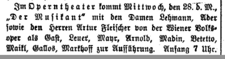 28 May 1919 Der Musikant by Bittner