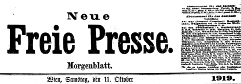 Top of Paper of 11 October 1919 World Premier of Frau ohne Schatten