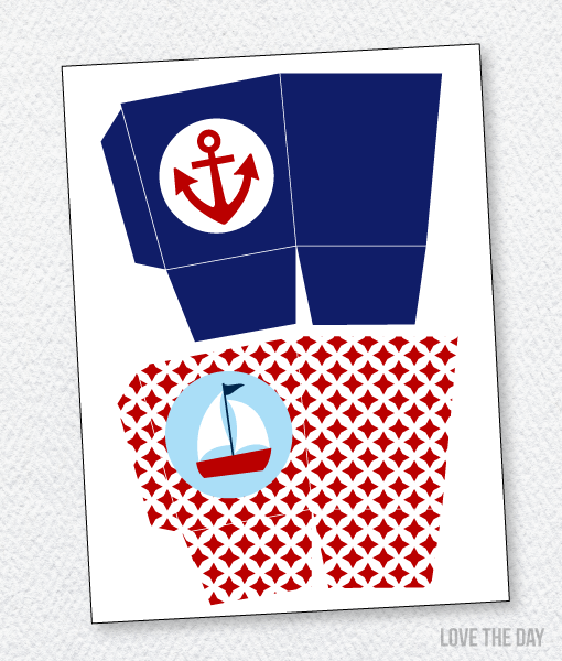 Preppy Nautical Baby Shower Printables:: Favor Boxes