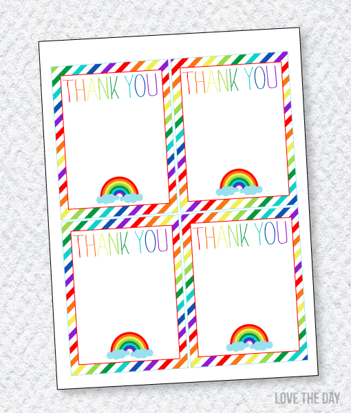 Rainbow Party Printables:: Thank You Cards
