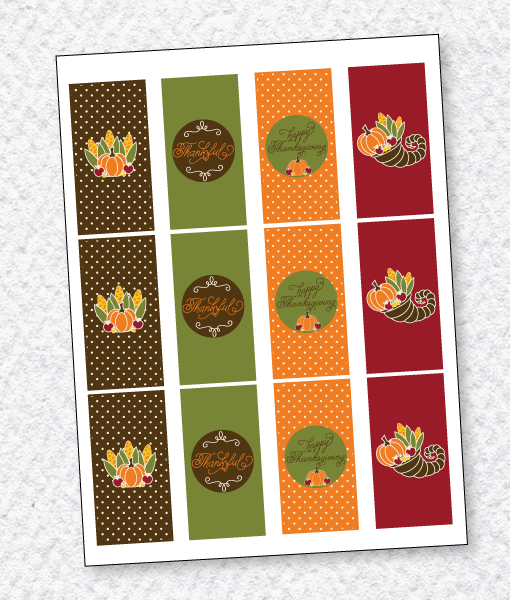 Cornucopia Thanksgiving Mini Candy Bar Wrappers