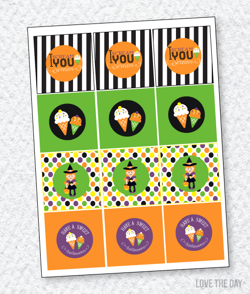 'I Scream, You Scream' Halloween Party:: Party Tags