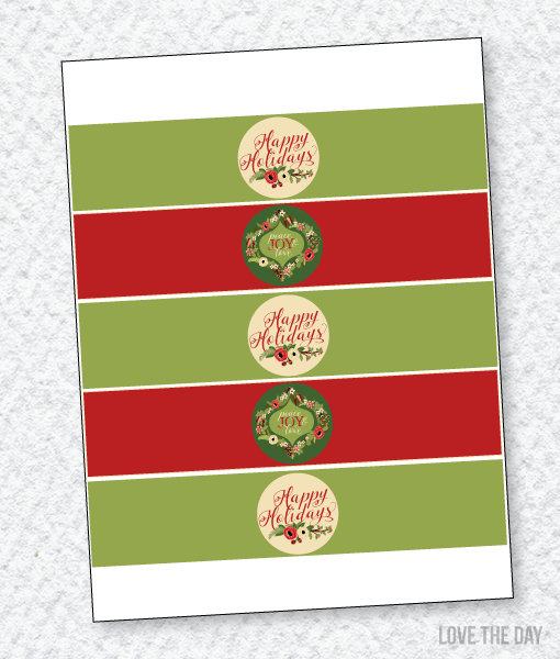 Floral Christmas Party:: Drink Labels
