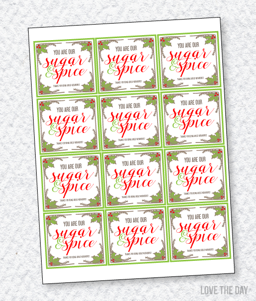 Sugar & Spice Neighbor Gift Tags by Love The Day