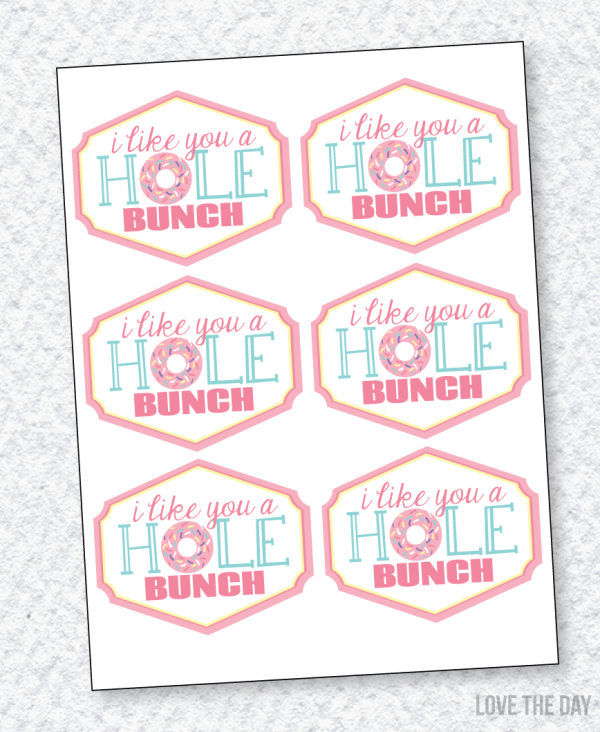 I Like You A HOLE Bunch VALENTINE Printable (INSTANT DOWNLOAD) by Love The Day