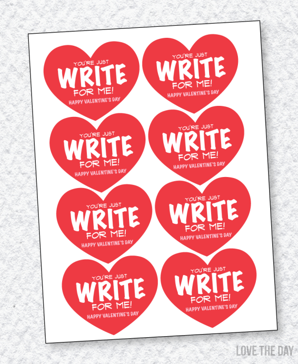 You're Just Write For Me PENCIL Valentine Printable by Love The Day