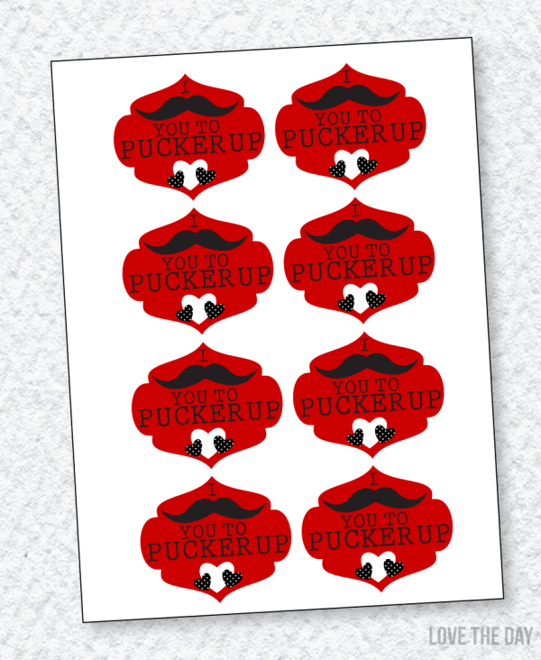 Mustache Valentine PRINTABLE (Instant Download)