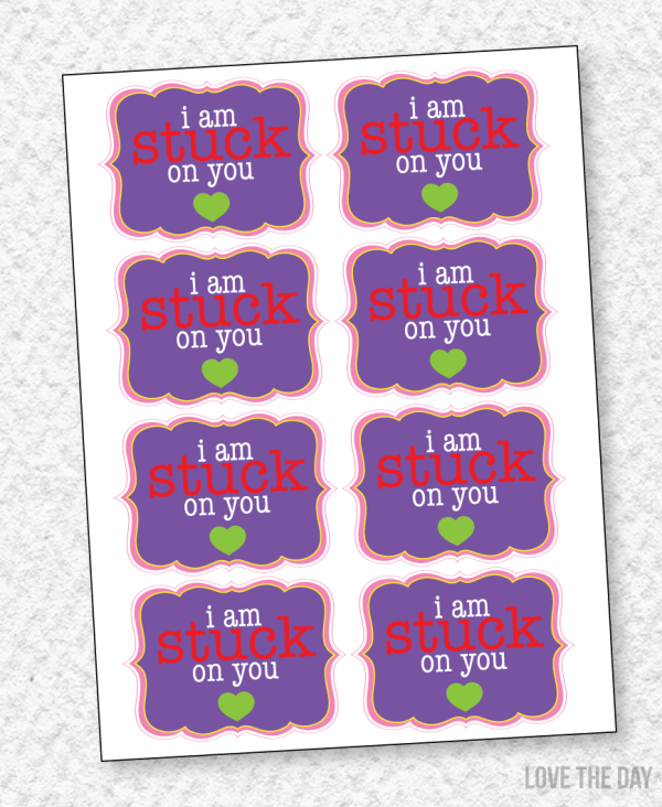 I Am Stuck On You Valentine PRINTABLE (Instant Download) by Love The Day