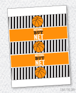 Basketball PRINTABLE Water Bottle Labels