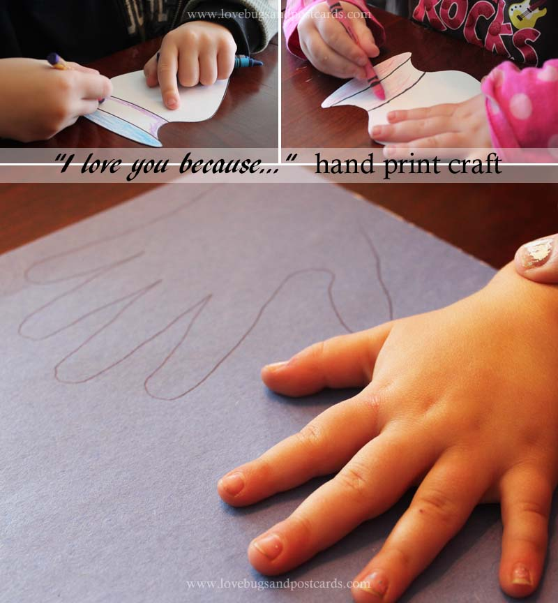 """Mother's Day """"I love you because..."""" Hand print Craft"""