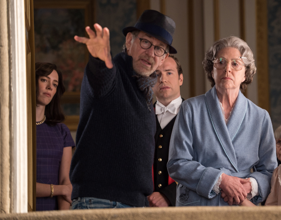 Director Steven Spielberg, Penelope Wilton, Rafe Spall and Rebecca Hall on the set of Disney's THE BFG, based on the best-sellling book by Roald Dahl.