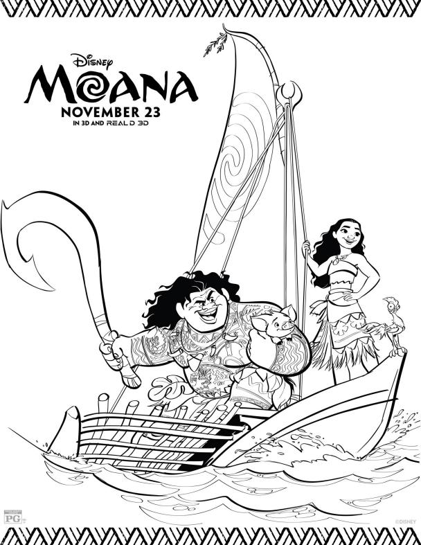 MAUI and MOANA Boat Coloring Page - Disney's Moana