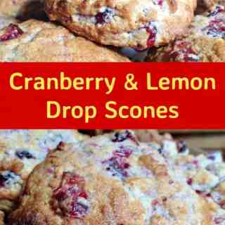 Cranberry and Lemon Drop Scones. These are a wonderful little scones using left over cranberry sauce. They're great tasting, soft and moist. Delicious served warm or cold with a spread of butter! Only take minutes to make and incredibly easy! | Lovefoodies.com