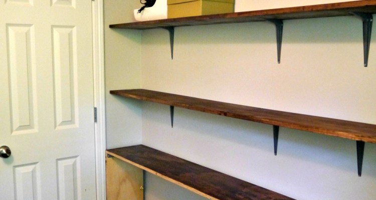 narrow shelves and table