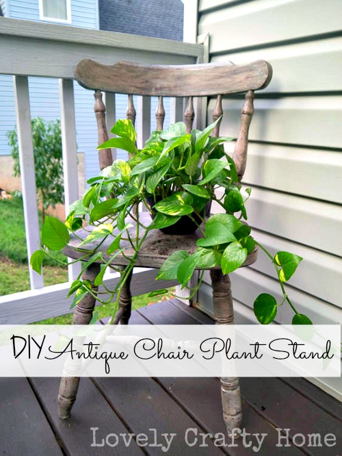 DIY Antique Chair Plant Stand