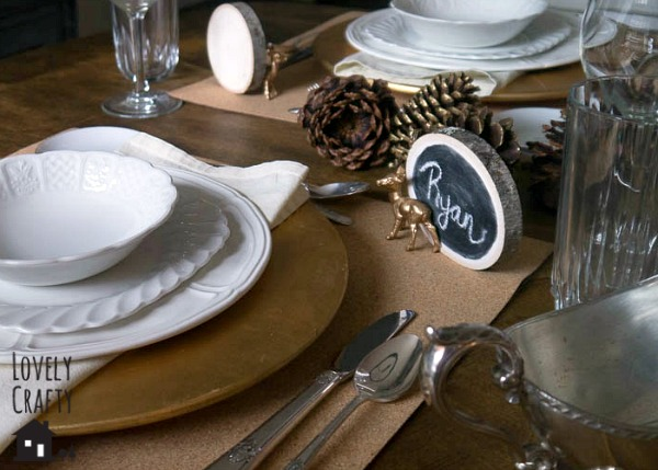Wood Slab Chalkboard Place Cards