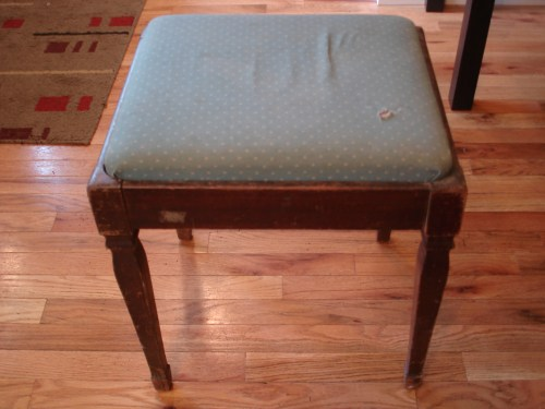 how to reupholster a custion on stool or bench