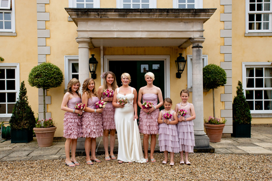Pretty maids all in a row, and one beautiful Bride ready to meet her Groom...