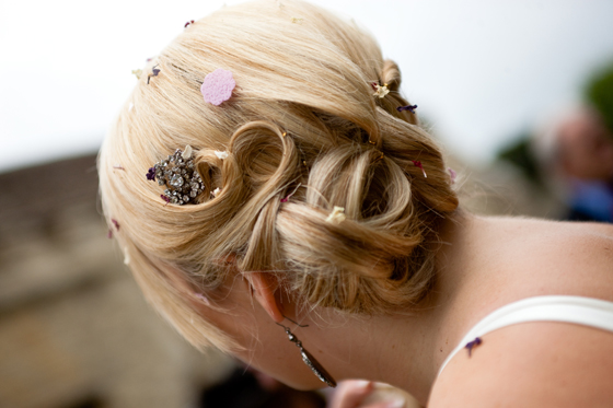 What an elegant style, and such a pretty hair clip...