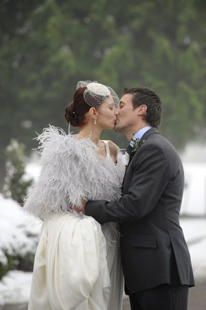 Jenny Packham Splendour, a Beautiful Backdrop Necklace and an Ostrich Feather Cape... (Weddings )