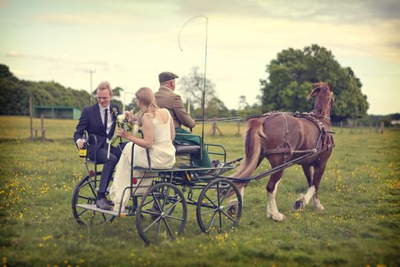Wedding day horse and cart
