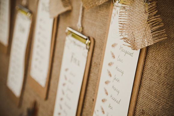 DIY rustic table plan using burlap, hessian, jute and string
