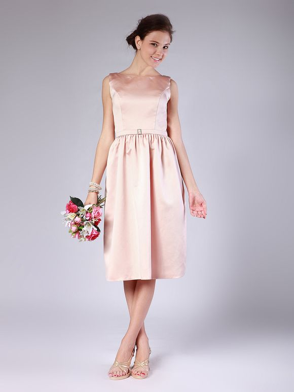 For Her And For Him satin pink 1950s bridesmaids dresses