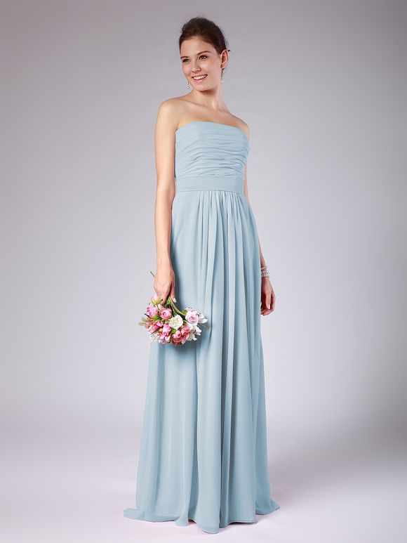 For Her And For Him long pale blue bridesmaid dress