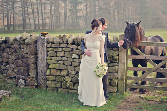 1930s style wedding dress, rustic country wedding