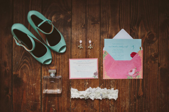 A Beaded Backless Wedding Dress and Pale Green Wedding Shoes for a DIY, Homemade Wedding...... (Weddings )