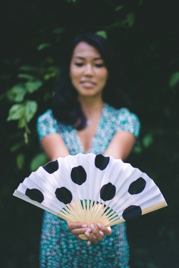 Polka dot wedding fan
