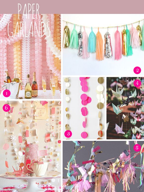 Bridal Inspiration Boards #47 ~ Pom Poms, Pin Wheels and Paper Garlands (Mood + Inspiration Boards )
