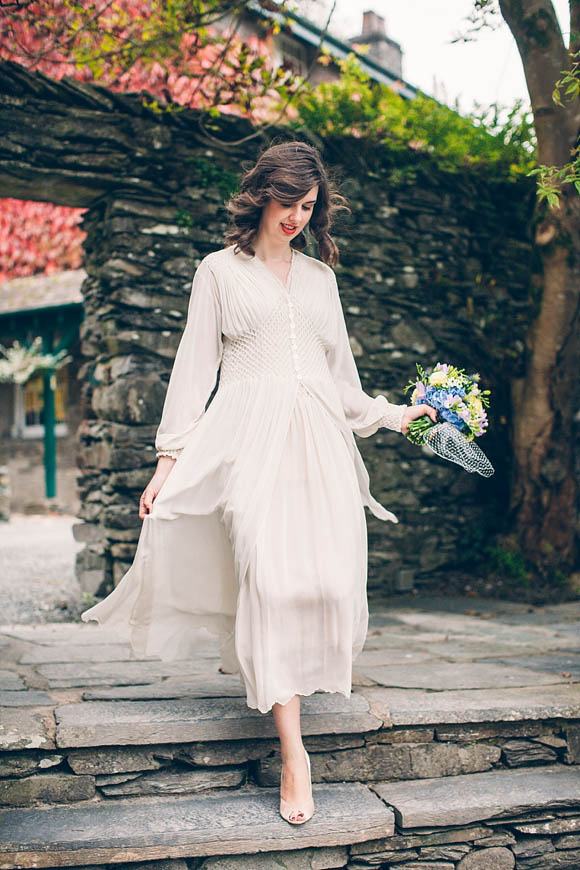 An Edwardian Crepe Silk Nightgown Wedding Dress