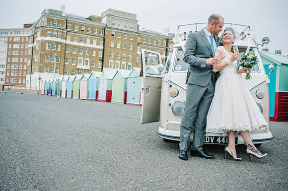 1950s inspired wedding dress Brighton wedding