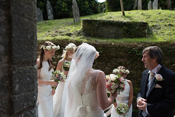 A Paloma Blanca Wedding Dress and Pretty Maids in Floral Crowns... (Weddings )