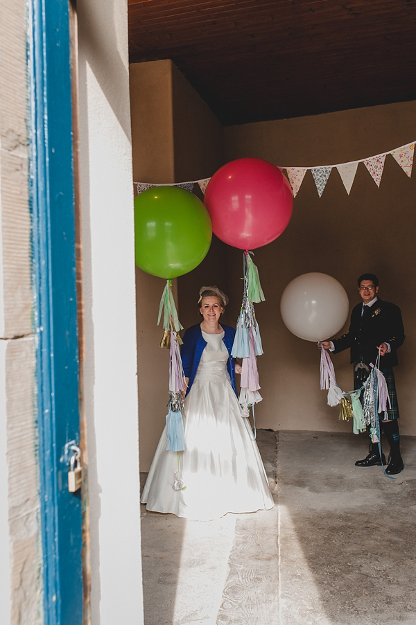 Giant Balloons And A Blue Cardigan For A 1950's Inspired Bride And Her Quirky Village Fete Style Wedding (Weddings )