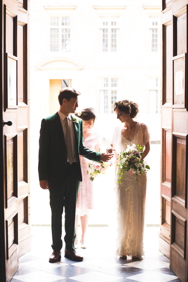 Azalea by Jenny Packham, Edwardian inspired floral crown, Emmanuel College Cambridge wedding, M&J Photography