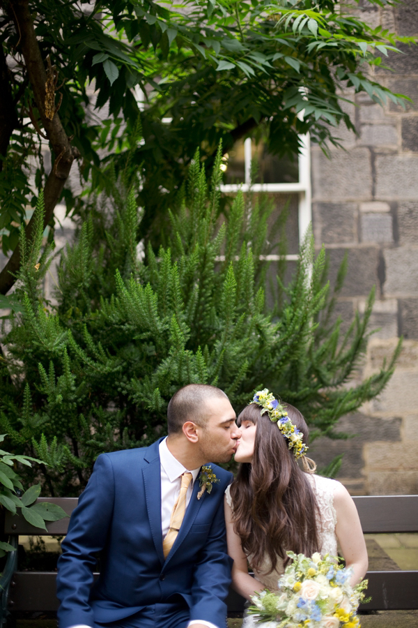 1960s style wedding, 1970s style wedding, bohemian bride, Edwardian wedding dress, yellow wedding, Anna C. Pettigrew Photography