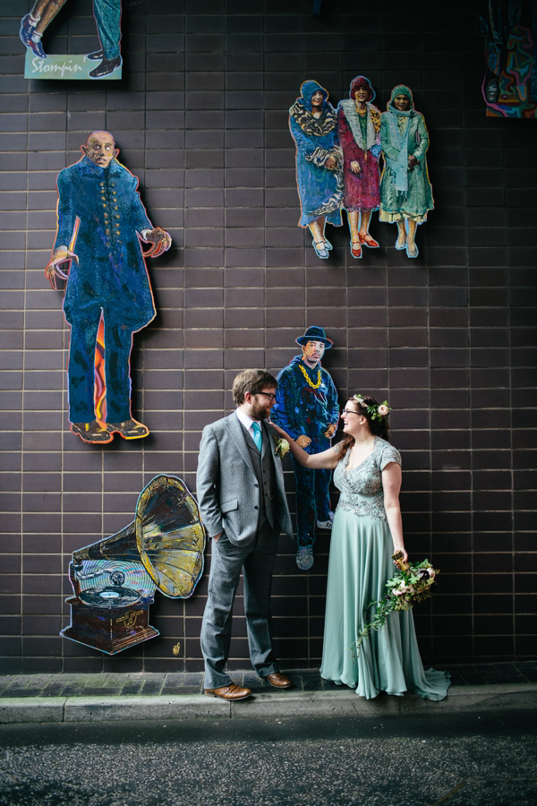 A Pale Green 40's Inspired Dress And Floral Crown For An Eclectic, DIY Edinburgh Wedding (Films Weddings )