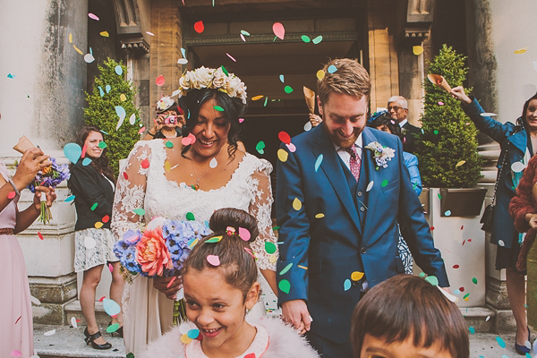 Bright and colourful London wedding // Wilden Bride wedding dress // Noel Deasington Photography
