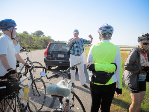 Author and environmentalist, Bill Sargent and North Shore historian and bike guide, Gordon Harris, Plum Island.