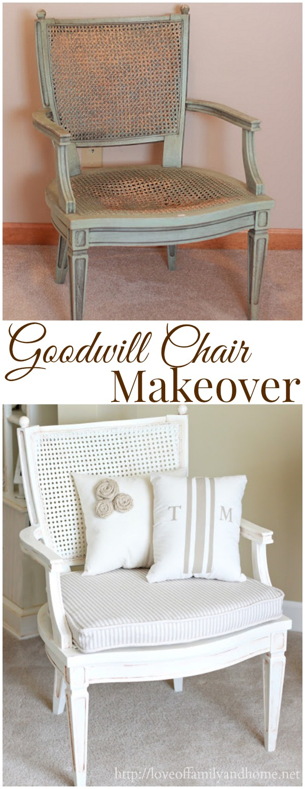 Goodwill Chair Makeover by Love of Family and Home