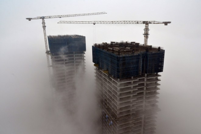 Строительство высоток в Жичжао, Китай