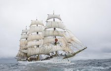 Lerwick Tall Ship with white sails