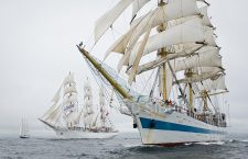 Two Lerwick Tall Ship with white sails