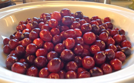 Raw cranberries washed and in a white bowl.