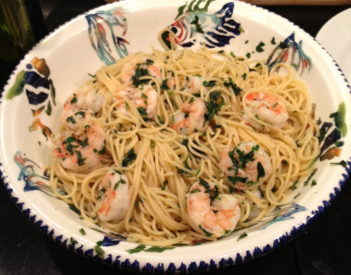 Quick, Easy Pasta with Shrimp – and No Garlic