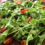 Lemon Anchovy dressing on arugula