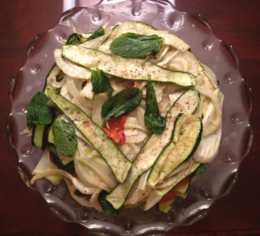 The beautiful zucchini, red pepper, fennel and mint  torta on a crystal platter