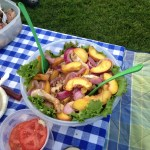 Roasted peaches, red onion, chicken and homegrown lettuce salad at a Tanglewood picnic dinner.